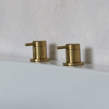 Britton Bathrooms Hoxton Deck Mounted Panel Valves - Brushed Brass