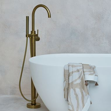 Britton Bathrooms Hoxton Floorstanding Bath Shower Mixer Tap - Brushed Brass