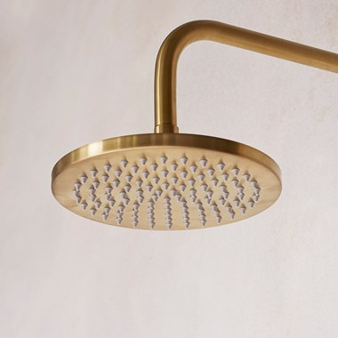 Britton Bathrooms Hoxton Rain Shower Head & Wall Mounted Arm - Brushed Brass