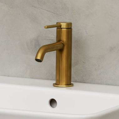 Britton Bathrooms Hoxton Slim Basin Mixer Tap - Brushed Brass