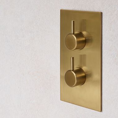 Britton Bathrooms Hoxton 2 Outlet Thermostatic Concealed Shower Valve - Brushed Brass