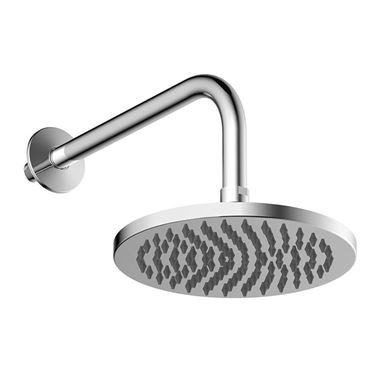 Britton Bathrooms Hoxton Rain Shower Head & Wall Mounted Arm - Chrome