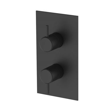 Britton Bathrooms Hoxton 2 Outlet Thermostatic Concealed Shower Valve - Matt Black