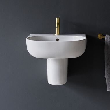 Britton Bathrooms Milan Basin & Semi-Pedestal - 500mm & 600mm
