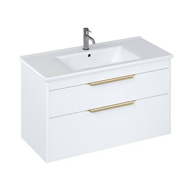 Britton Bathrooms Shoreditch 1000mm Double Drawer Wall Mounted Vanity Unit with Brushed Brass Handles & Basin
