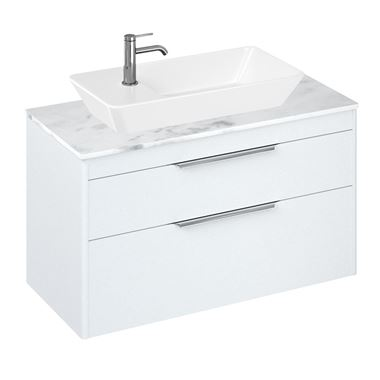 Britton Bathrooms Shoreditch 1000mm Double Drawer Wall Mounted Vanity Unit with Chrome Handles & Countertop