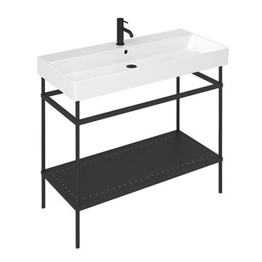 Britton Bathrooms Shoreditch Matt Black Frame Furniture Stand & Basin - 1000mm
