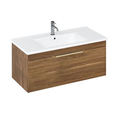 Britton Bathrooms Shoreditch 1000mm Caramel Single Drawer Wall Mounted Vanity Unit with Brushed Brass Handle & Round Basin