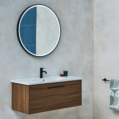 Britton Bathrooms Shoreditch 1000mm Single Drawer Wall Mounted Vanity Unit with Matt Black Handle & Basin