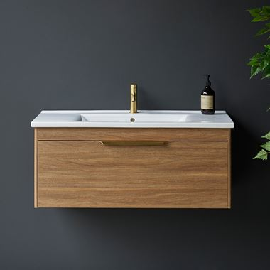 Britton Bathrooms Shoreditch 1000mm Single Drawer Wall Mounted Vanity Unit with Brushed Brass Handle & Basin