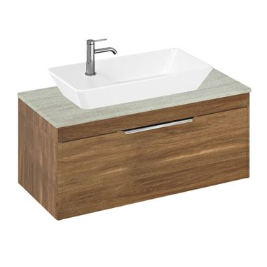 Britton Bathrooms Shoreditch 1000mm Single Drawer Wall Mounted Vanity Unit with Chrome Handle & Countertop