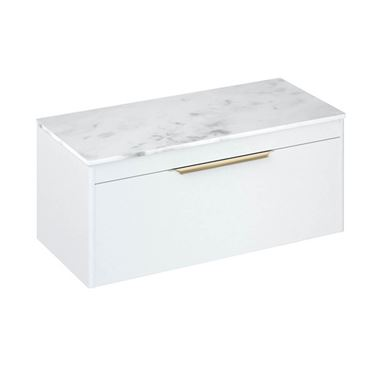 Britton Bathrooms Shoreditch 1000mm Single Drawer Wall Mounted Vanity Unit with Brushed Brass Handle & Countertop