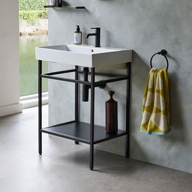 Britton Bathrooms Shoreditch Matt Black Frame Furniture Stand & Basin - 600mm