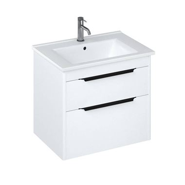 Britton Bathrooms Shoreditch 650mm Double Drawer Wall Mounted Vanity Unit with Matt Black Handles & Basin