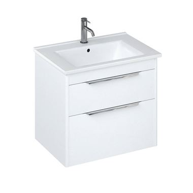 Britton Bathrooms Shoreditch 650mm Double Drawer Wall Mounted Vanity Unit with Chrome Handles & Basin