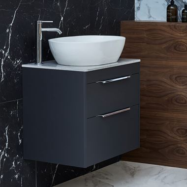 Britton Bathrooms Shoreditch 650mm Double Drawer Wall Mounted Vanity Unit with Chrome Handles & Countertop