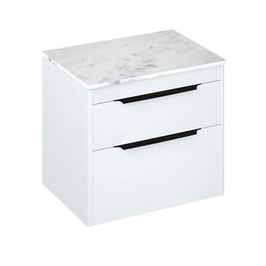 Britton Bathrooms Shoreditch 650mm Double Drawer Wall Mounted Vanity Unit with Matt Black Handles & Countertop