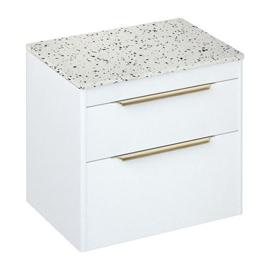 Britton Bathrooms Shoreditch 650mm Double Drawer Wall Mounted Vanity Unit with Brushed Brass Handles & Countertop