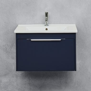 Britton Bathrooms Shoreditch 650mm Single Drawer Wall Mounted Vanity Unit with Chrome Handle & Basin