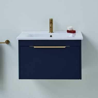 Britton Bathrooms Shoreditch 650mm Single Drawer Wall Mounted Vanity Unit with Brushed Brass Handle & Basin