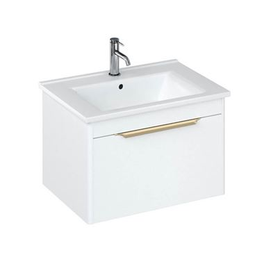 Britton Bathrooms Shoreditch 650mm Matt White Single Drawer Wall Mounted Vanity Unit with Brushed Brass Handle & Square Basin