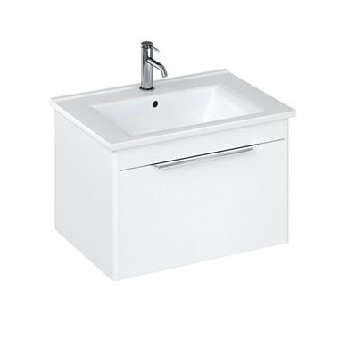 Britton Bathrooms Shoreditch 650mm Matt White Single Drawer Wall Mounted Vanity Unit with Chrome Handle & Square Basin