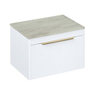 Britton Bathrooms Shoreditch 650mm Matt White Single Drawer Wall Mounted Vanity Unit with Brushed Brass Handle & Concrete Haze Countertop