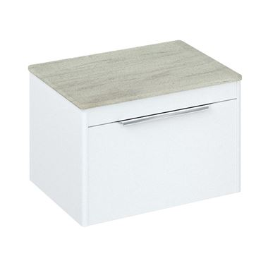 Britton Bathrooms Shoreditch 650mm Matt White Single Drawer Wall Mounted Vanity Unit with Chrome Handle & Concrete Haze Countertop