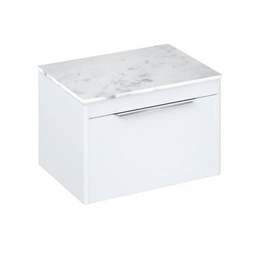 Britton Bathrooms Shoreditch 650mm Single Drawer Wall Mounted Vanity Unit with Chrome Handle & Countertop