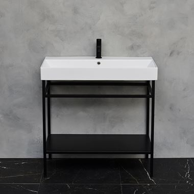 Britton Bathrooms Shoreditch Matt Black Frame Furniture Stand & Basin - 850mm