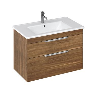 Britton Bathrooms Shoreditch 850mm Caramel Double Drawer Wall Mounted Vanity Unit with Chrome Handles & Round Basin