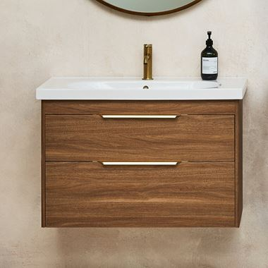 Britton Bathrooms Shoreditch 850mm Double Drawer Wall Mounted Vanity Unit with Brushed Brass Handles & Basin
