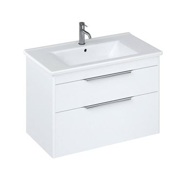 Britton Bathrooms Shoreditch 850mm Double Drawer Wall Mounted Vanity Unit with Chrome Handles & Basin