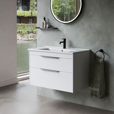 Britton Bathrooms Shoreditch 850mm Double Drawer Wall Mounted Vanity Unit with Matt Black Handles & Basin