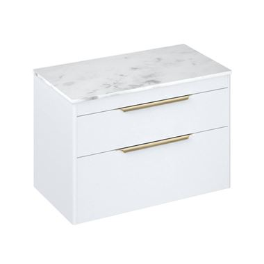 Britton Bathrooms Shoreditch 850mm Double Drawer Wall Mounted Vanity Unit with Brushed Brass Handles & Countertop