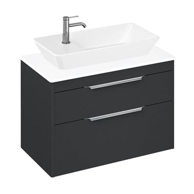 Britton Bathrooms Shoreditch 850mm Double Drawer Wall Mounted Vanity Unit with Chrome Handles & Countertop