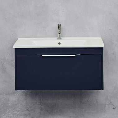 Britton Bathrooms Shoreditch 850mm Single Drawer Wall Mounted Vanity Unit with Chrome Handle & Basin