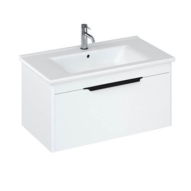 Britton Bathrooms Shoreditch 850mm Single Drawer Wall Mounted Vanity Unit with Matt Black Handle & Basin