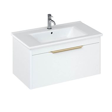 Britton Bathrooms Shoreditch 850mm Single Drawer Wall Mounted Vanity Unit with Brushed Brass Handle & Basin