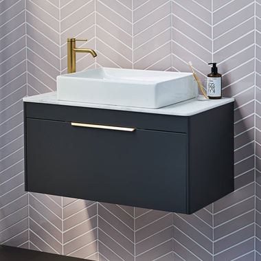 Britton Bathrooms Shoreditch 850mm Single Drawer Wall Mounted Vanity Unit with Brushed Brass Handle & Countertop
