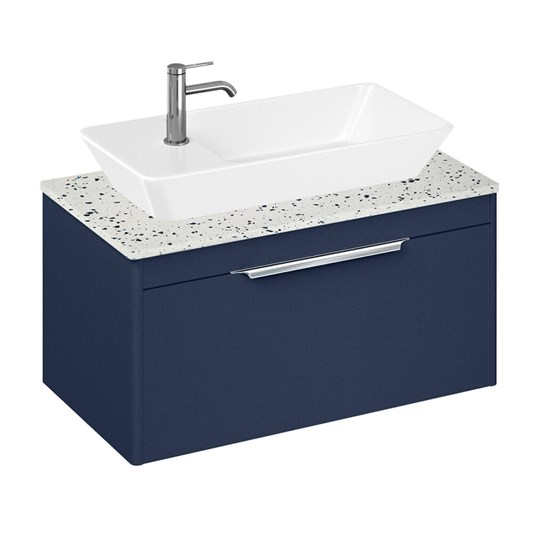 Britton Bathrooms Shoreditch 850mm Single Drawer Wall Mounted Vanity Unit with Chrome Handle & Countertop