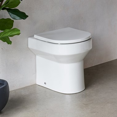 Britton Bathrooms Shoreditch Round Rimless Back to Wall Toilet & Seat - 500mm Projection