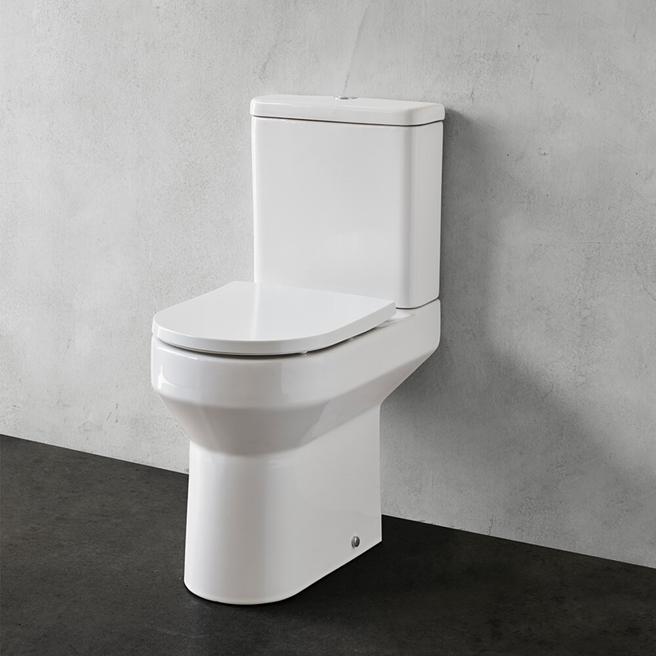 Britton Bathrooms Shoreditch Round Rimless Close Coupled Toilet & Seat - 600mm Projection