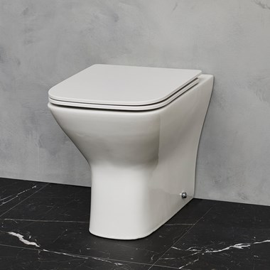 Britton Bathrooms Shoreditch Square Rimless Back to Wall Toilet & Seat - 500mm Projection