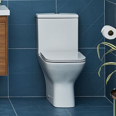 Britton Bathrooms Shoreditch Square Rimless Close Coupled Toilet & Seat - 600mm Projection