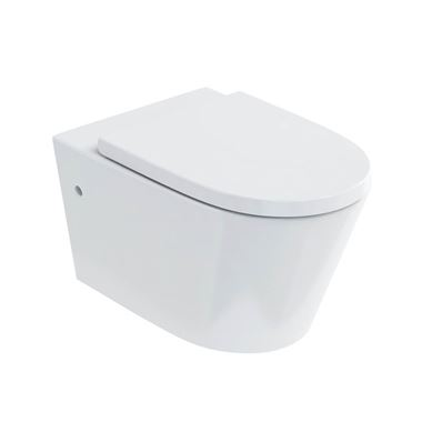 Britton Bathrooms Sphere Rimless Wall Hung Toilet & Seat - 520mm Projection