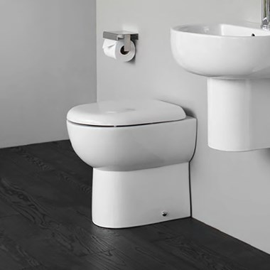 Britton Bathrooms Compact Back to Wall Toilet & Soft Close Seat - 480mm Projection