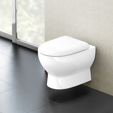 Britton Bathrooms Compact Wall Hung Toilet & Soft Close Seat - 480mm Projection