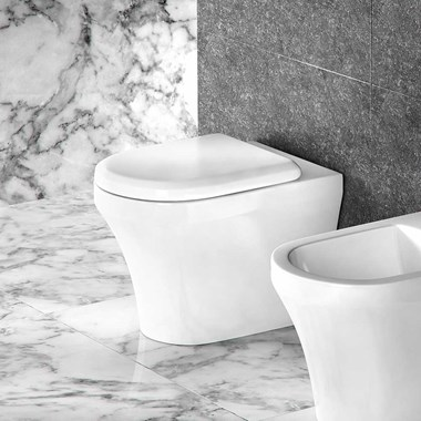 Britton Bathrooms Fine Back to Wall Toilet & Seat - 520mm Projection