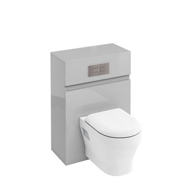 Britton Bathrooms 600mm Back To Wall Toilet Unit with Dual Flush Cistern and Flush Plate - Light Grey